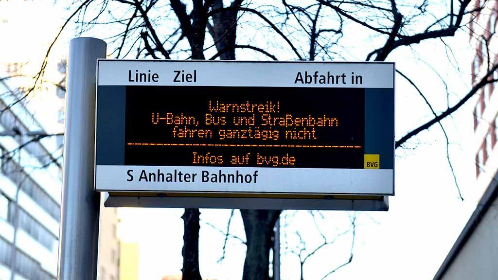 BVG-Mitarbeiter streiken am Montag