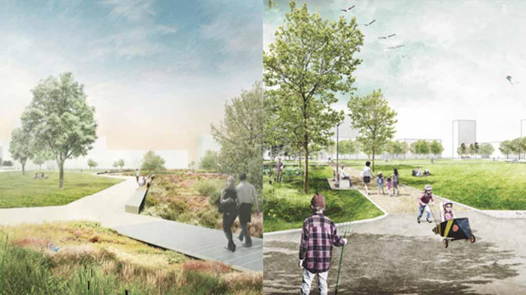 Zwei Entwürfe für grünes Airport-Gelände in Tegel