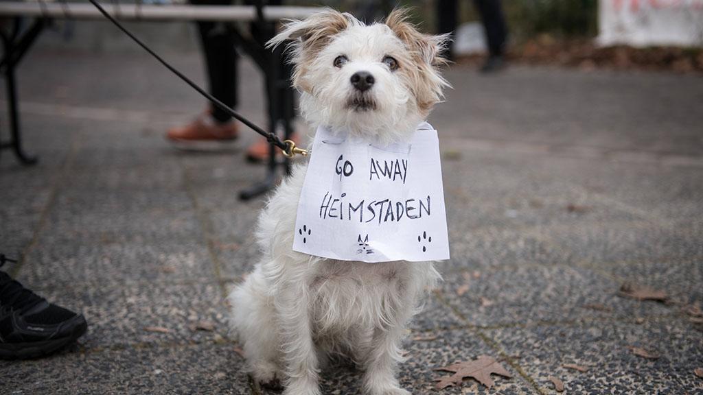 bei einer Protestkundgebung gegen den Verkauf von Haeusern und Wohnungen in Neukölln